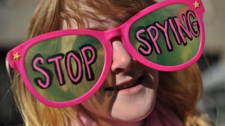 anti-snooping protestor