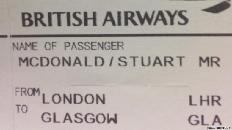 BA plane ticket
