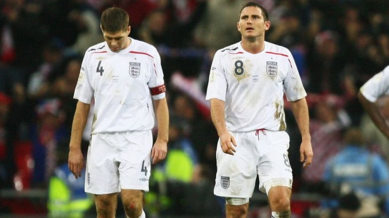 Frank Lampard and Steven Gerrard trudge off after an England match