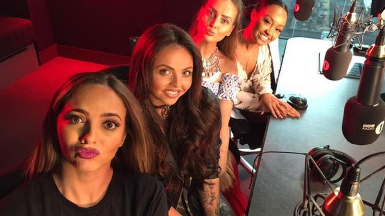 Little Mix appear on the Radio 1 Breakfast show with Nick Grimshaw on 27 May 2015