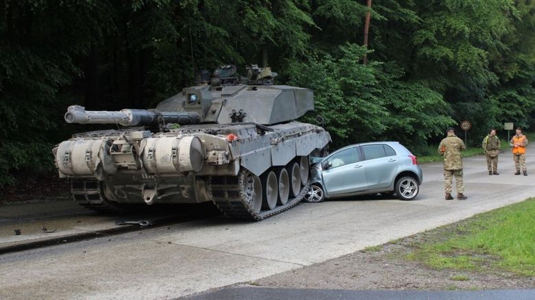 The tank crushed the Toyota Yaris.