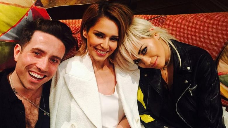 Nick Grimshaw with Cheryl Fernandez-Versini and Rita Ora