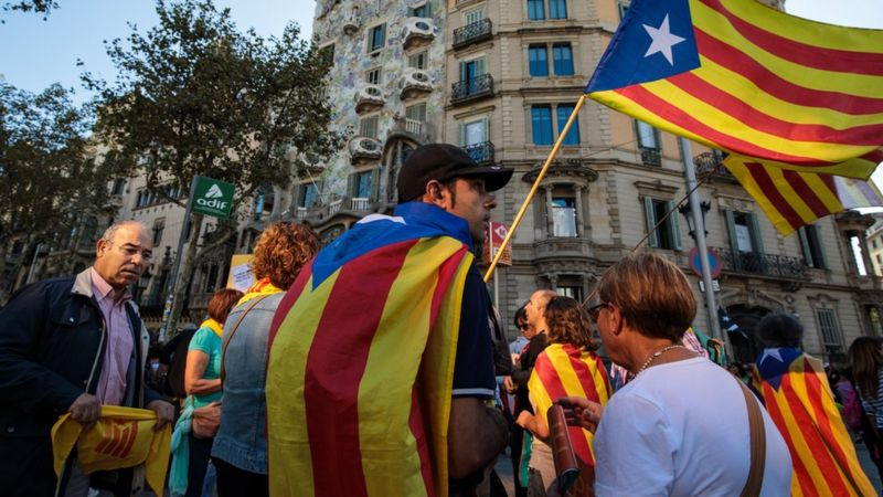 Protesters gather in Barcelona