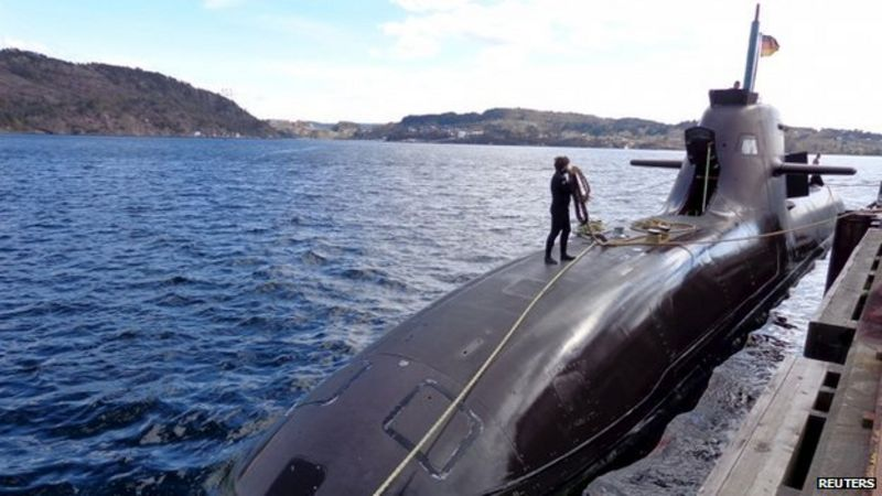 The U33, a Germany 212 class submarine prepares for Operation Dynamic Mongoose near Bergen on Norway's western coast