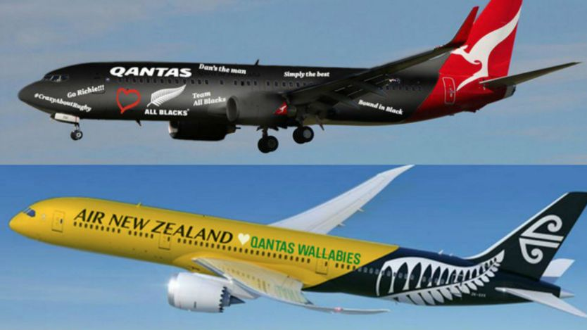 Digitally altered images from Air New Zealand and Qantas show both companies' planes in opposing colours.