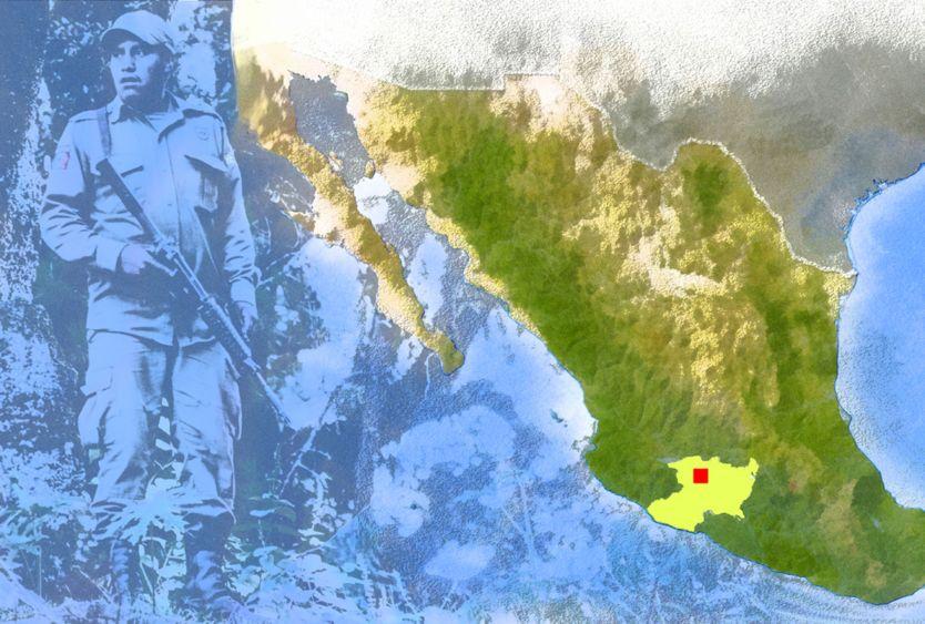 Mapa do México, com Cheran marcada em vermelho