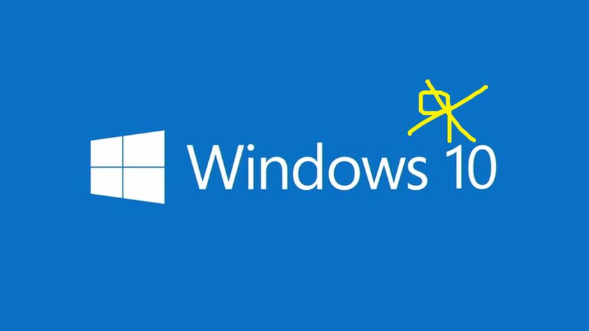 windows 10 logo with added 9 crossed out