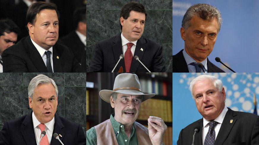 Los presidentes de: Panamá, Juan Carlos Varela, de Paraguay, Horacio Cartes y de Argentina, Mauricio Macri y los expresidentes de: Chile, Sebatián Piñera, de México, Vicente Fox y de Panamá, Ricardo Martinelli.