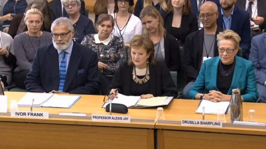 Professor Alexis Jay, chairman of the Independent Inquiry into Child Sexual Abuse, and IICSA Panel members Ivor Frank and Drusilla Sharpling, give evidence to the Commons Home Affairs Committee