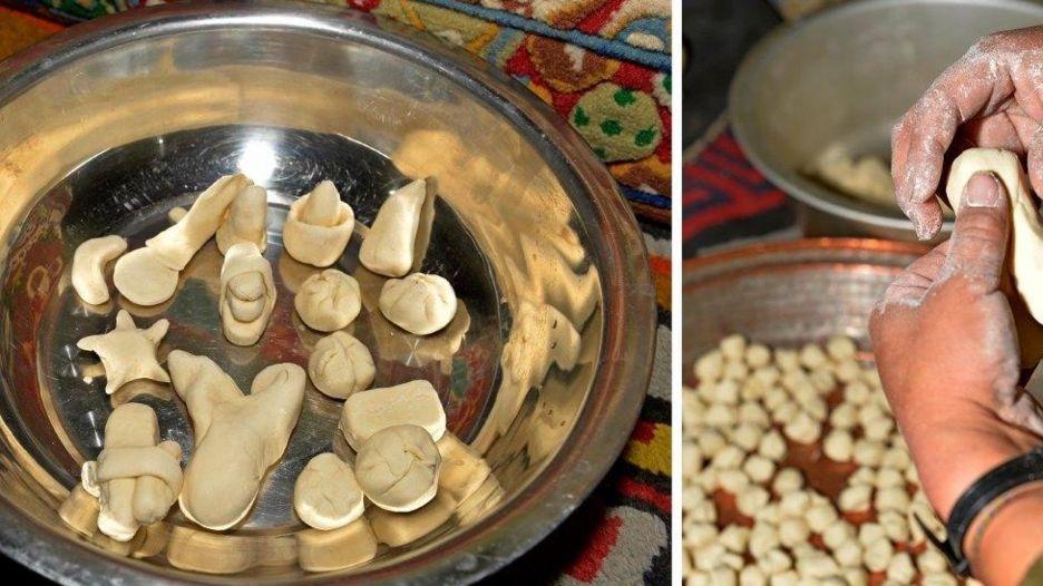 Người Tây Tạng ở Xigaze, khu tự trị Tây Tạng, làm bánh đón năm mới
