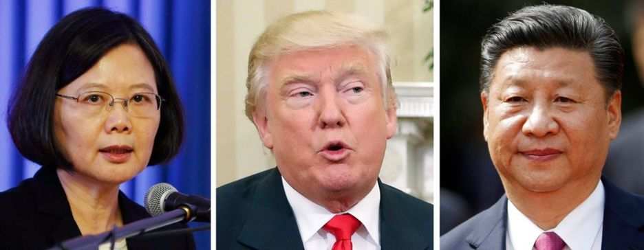 Ông Trump (giữa) sẽ phải điều chỉnh quan hệ tế nhị với Đài Loan và Trung Quốc