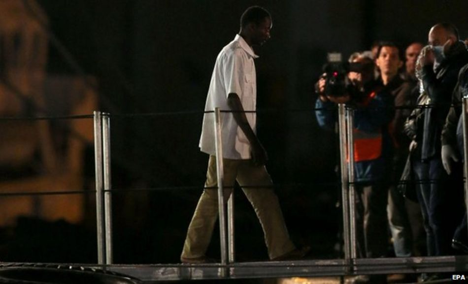 One of the 28 survivors of the weekend sinking arrives in Catania in Sicily, 21 April