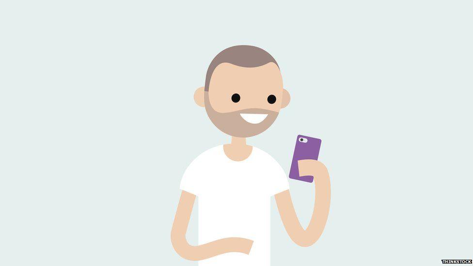 Cartoon man on his phone