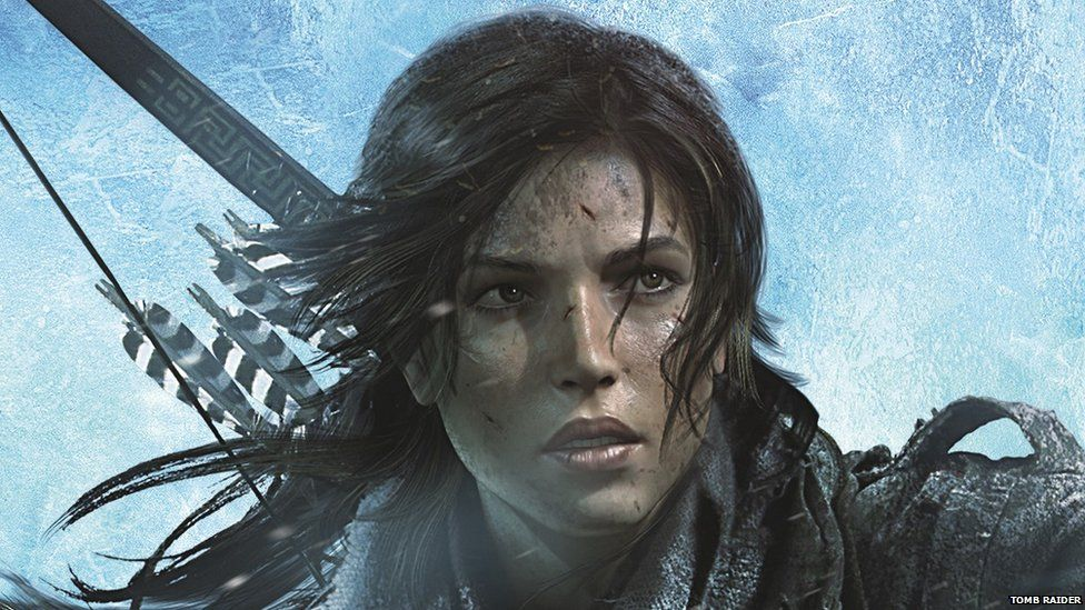 Lara Croft with a bow and arrow