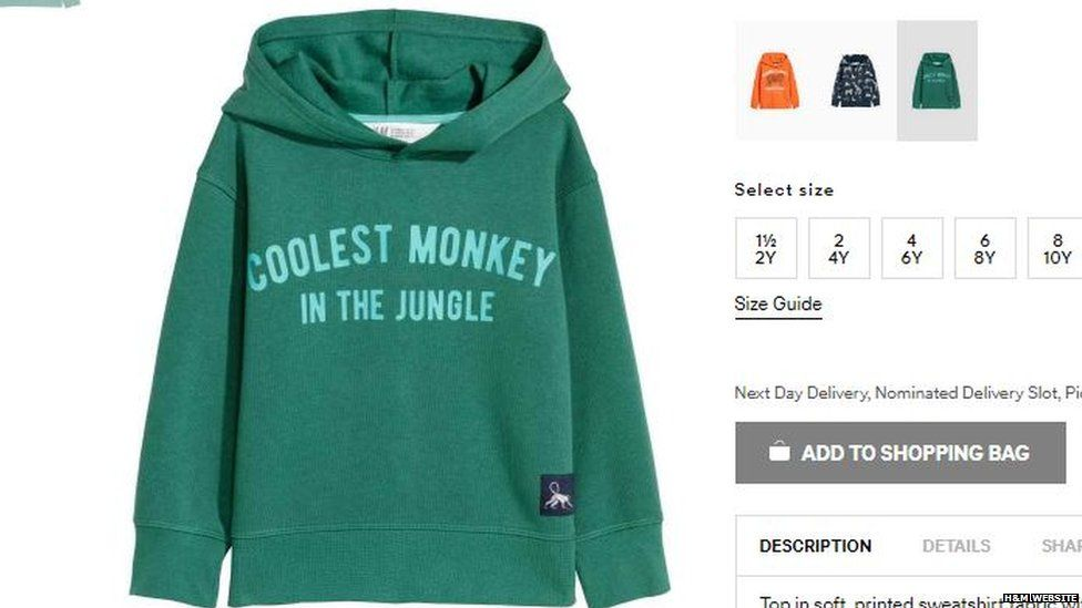 Screengrab of H&M's website showing the hoodie with 'coolest monkey in the jungle' on it