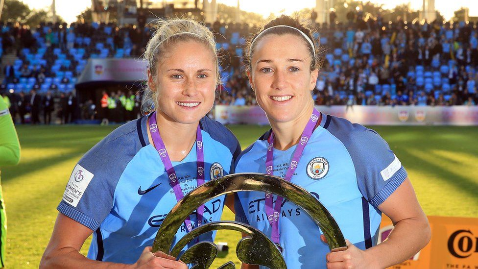 Steph Houghton and Lucy Bronze