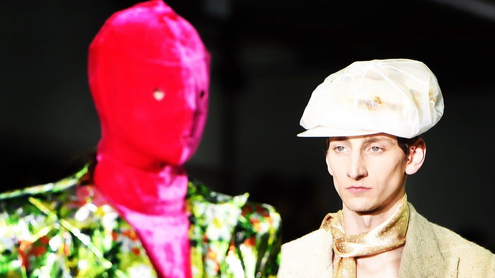 Two male models at London fashion Week