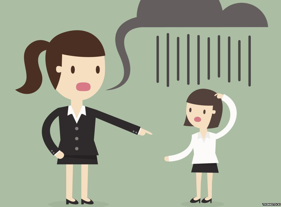 Cartoon woman pointing a smaller women with a rain cloud speech bubble over her head