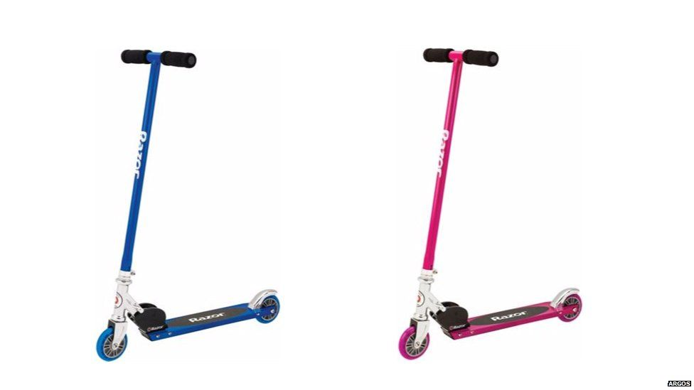 Blue and pink scooters