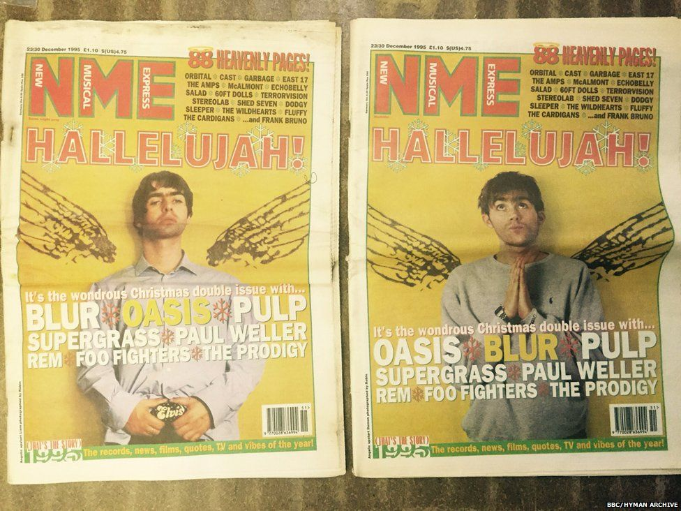 NME Christmas issue 1995, Liam from Oasis or Damon from Blur