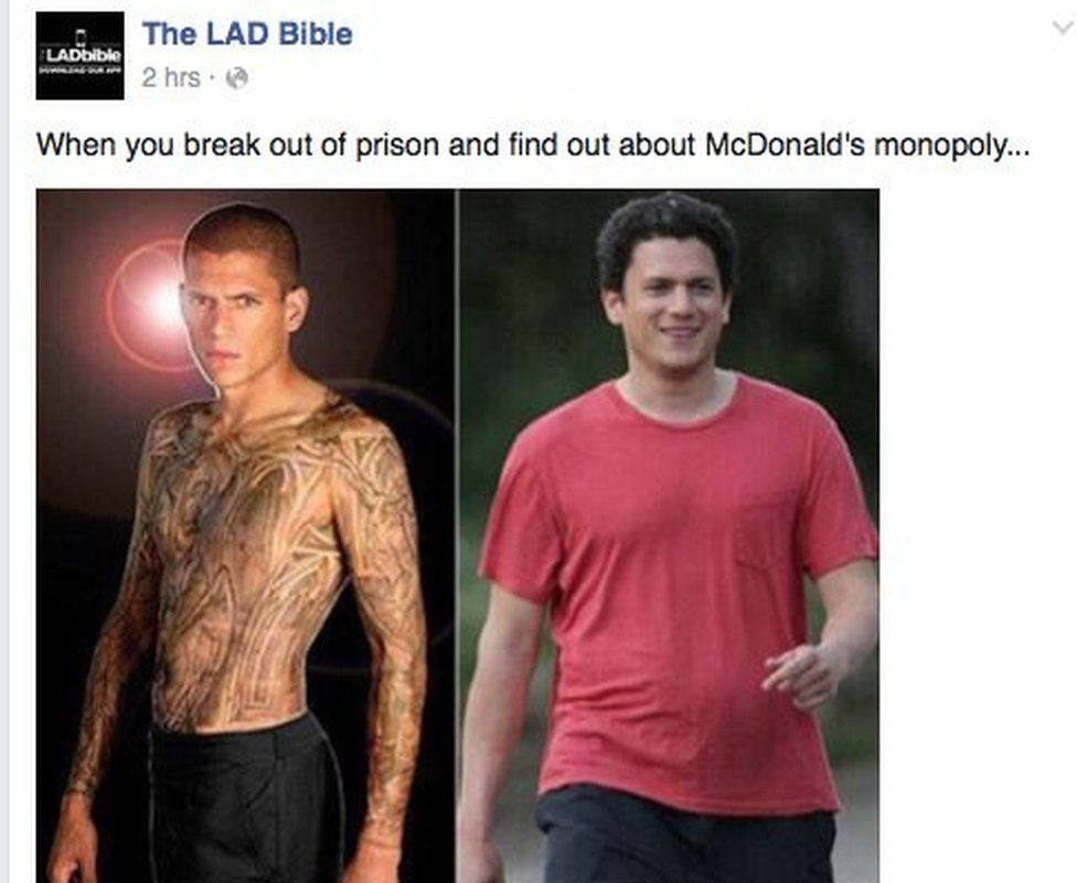 The meme Wentworth Miller responds to showing his weight gain with the caption: When you break out of prison and find out about McDonald's monopoly...