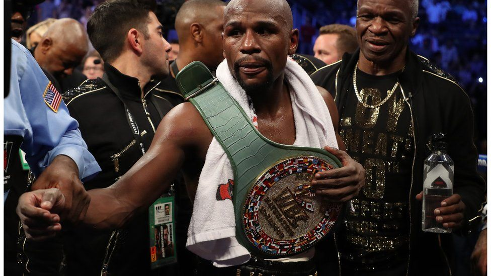 Mayweather with the belt