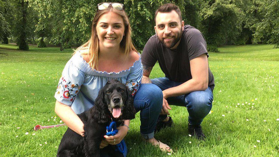 Jillian, Jamie and Rupert the dog
