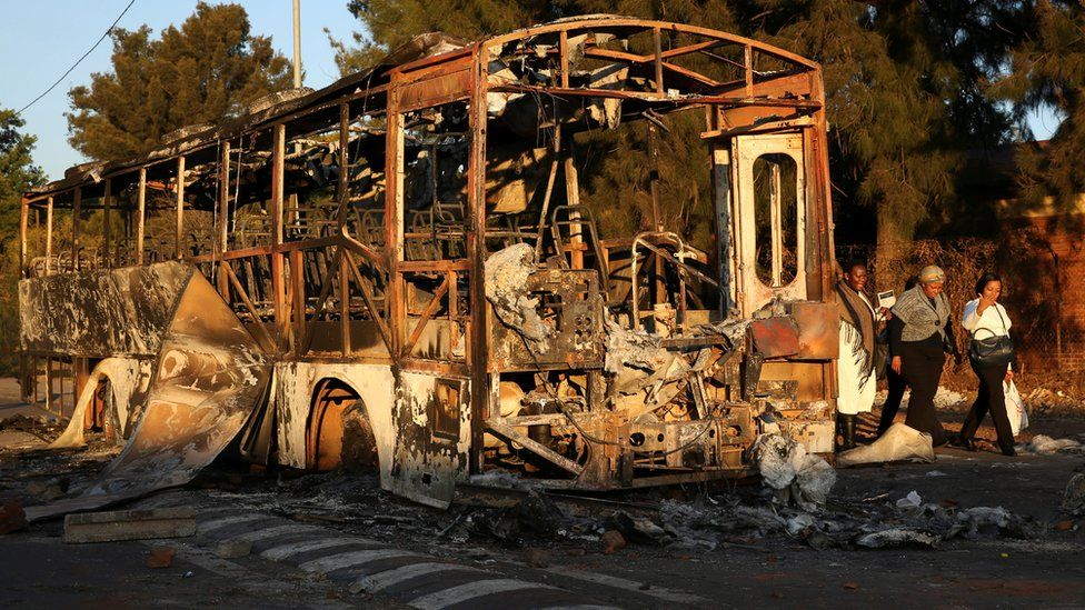 A burnt-out bus near Pretoria, South Africa