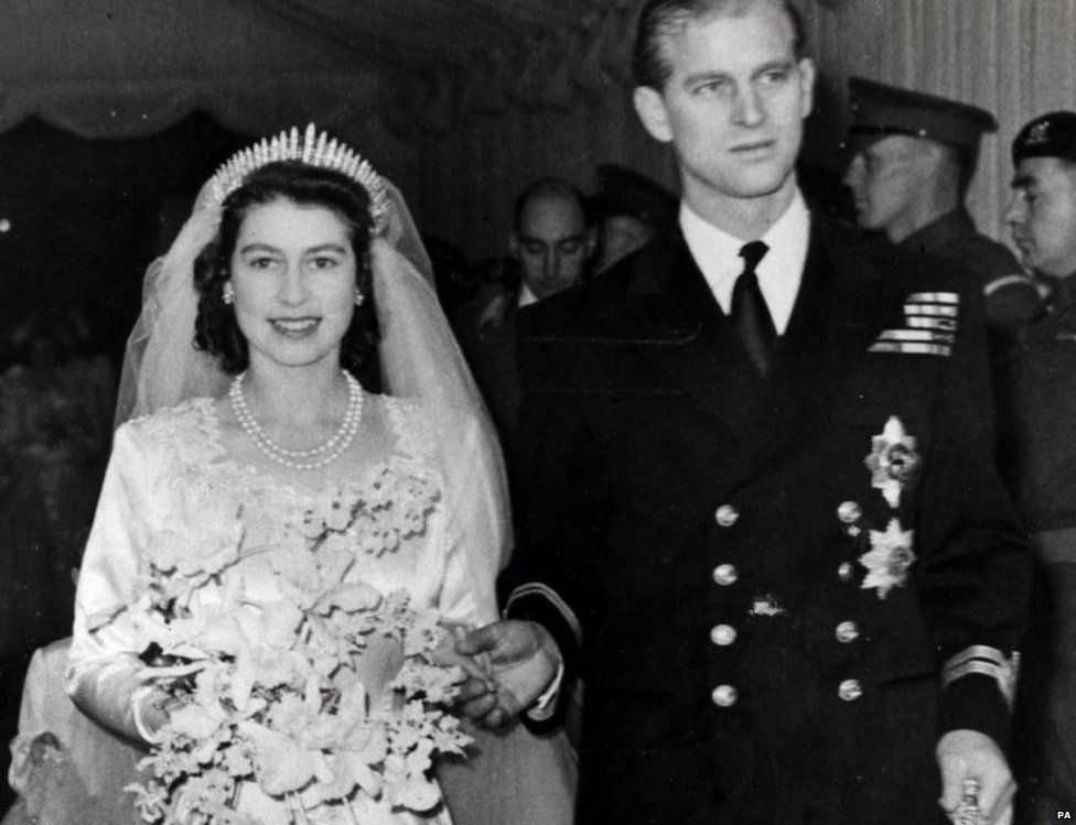 Princess Elizabeth (laterly Queen Elizabeth II) and Prince Philip leaving Westminster Abbey after their wedding ceremony, November 20th 1947.
