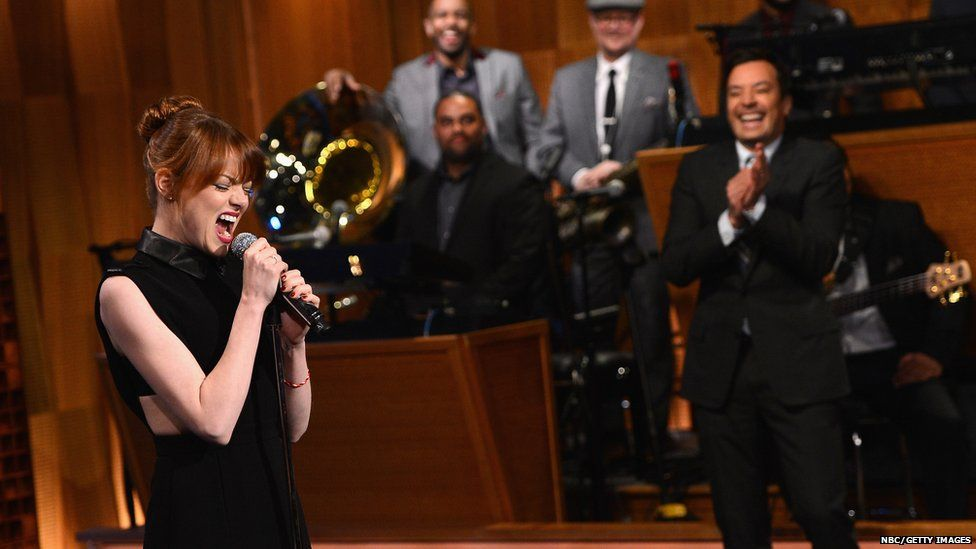 Emma Stone lip sync'ed for Jimmy Fallon