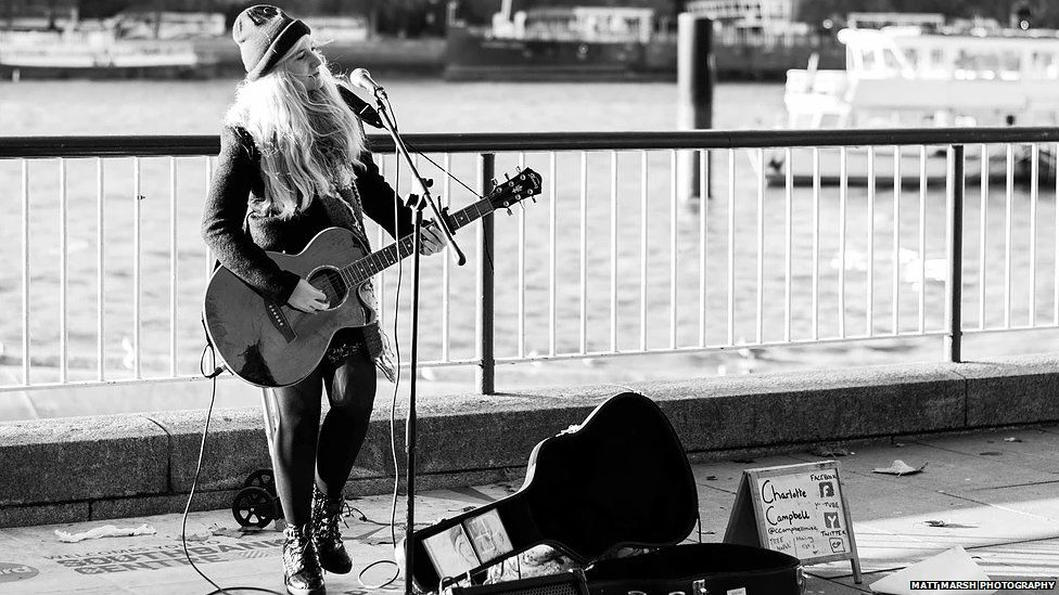 Charlotte Campbell busking
