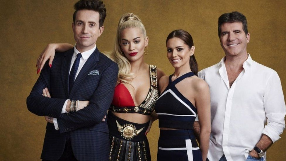 This years X Factor judges, Radio 1's Nick Grimshaw, Rita Ora, Cheryl (formerly Cole) and Simon Cowell