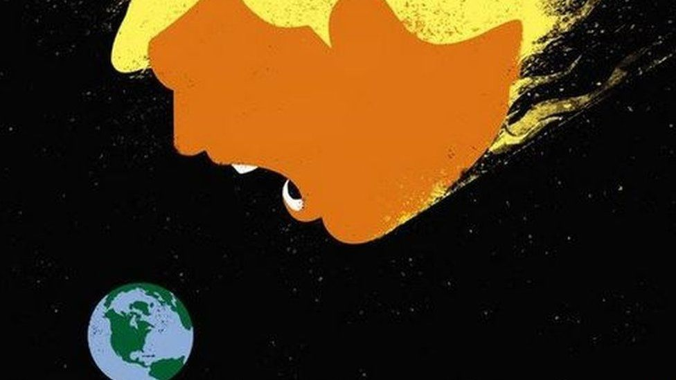 Der Spiegel cover of Trump eating the Earth.