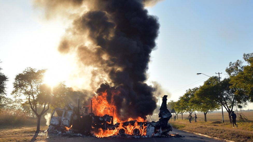 A torched truck near Pretoria, South Africa