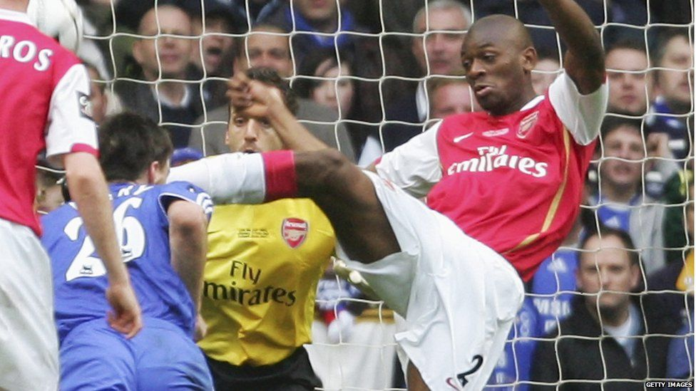John Terry getting kicked in the head by Abou Diaby.
