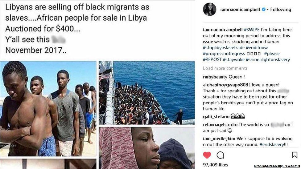 Naomi Campbell shared a post about slavery on Instagram