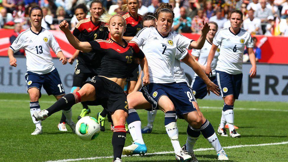 Scotland's Hayley Lauder challenges a German player