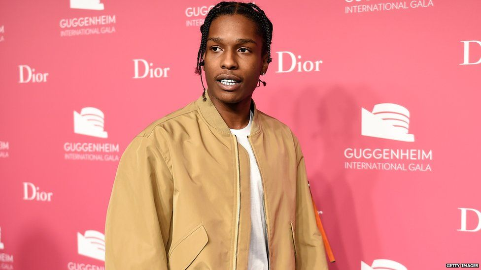 ASAP Rocky in a flight jacket