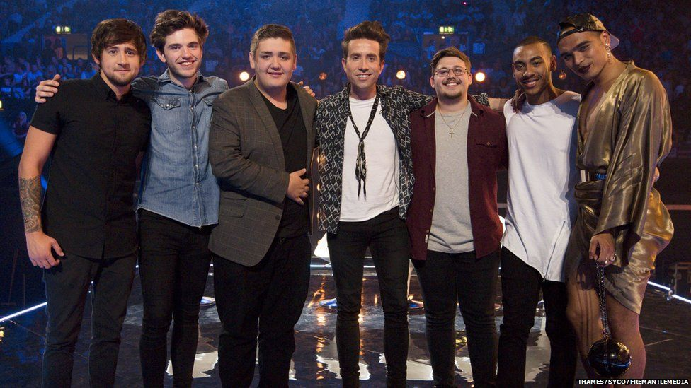 Nick Grimshaw and the six boys after the Six Chair Challenge
