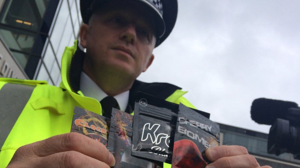 Police officer with legal highs