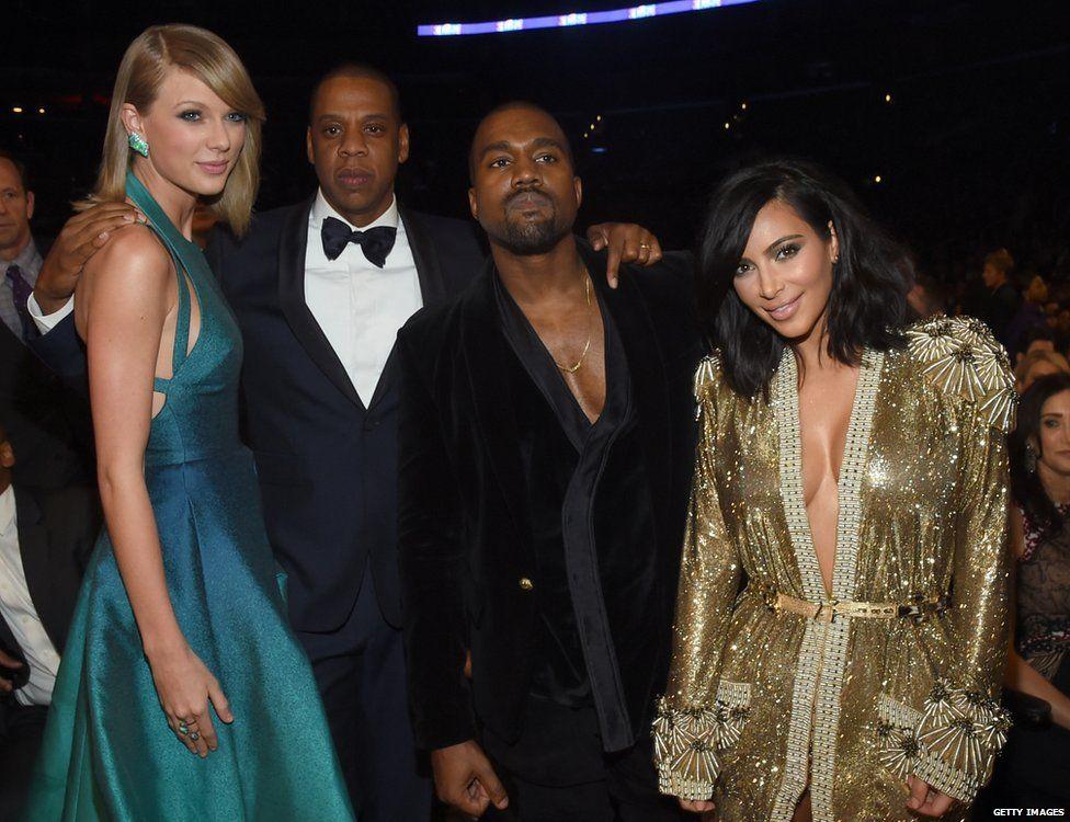 Taylor Swift, Jay Z, Kanye West and Kim Kardashian-West