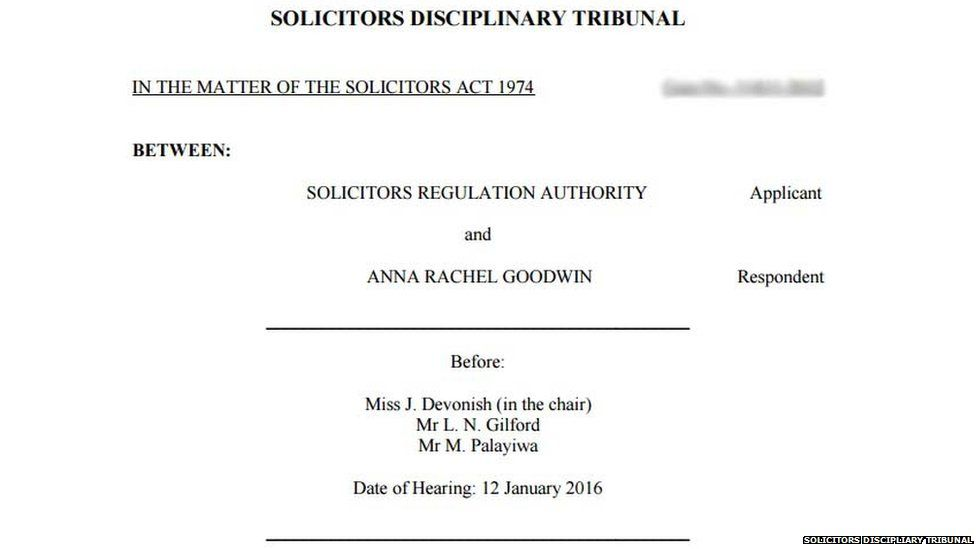 The report from the Solicitors Disciplinary Tribunal