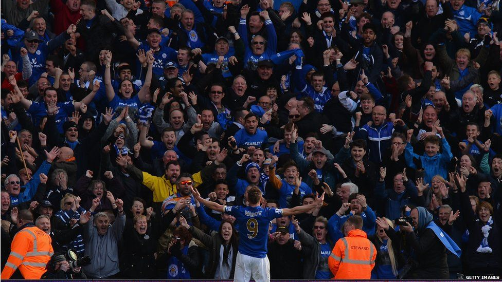 Jamie Vardy celebrates a goal with the Leicester fans