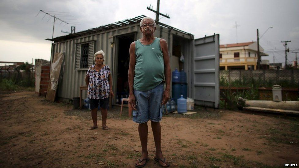 Retired cook Pereira and retired housecleaner Rodrigues, who have lived together 42 years, can't afford to rent a house so they have lived in a shipping container since January.