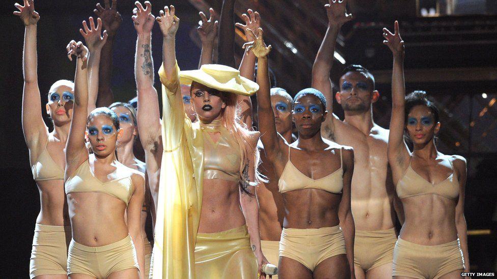 Lady Gaga performing Bad Romance