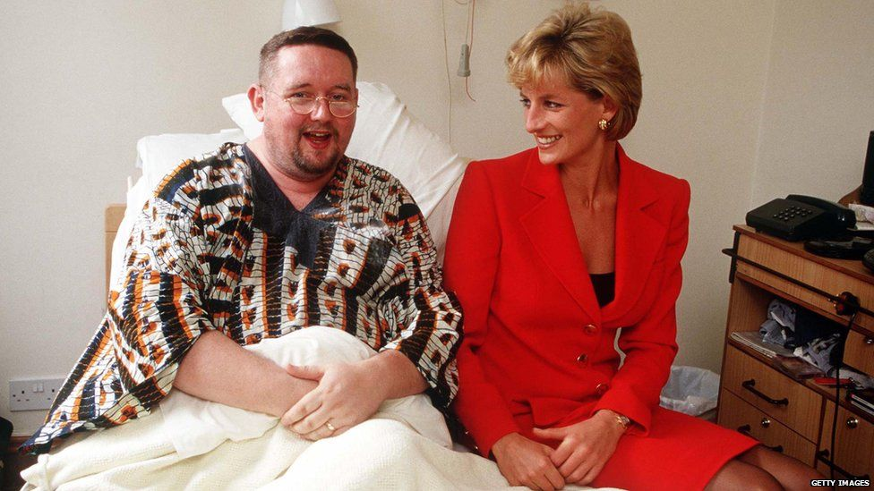 Princess Diana at a London Aids clinic in 1996. Like Harry, she was known for raising awareness of HIV and Aids.
