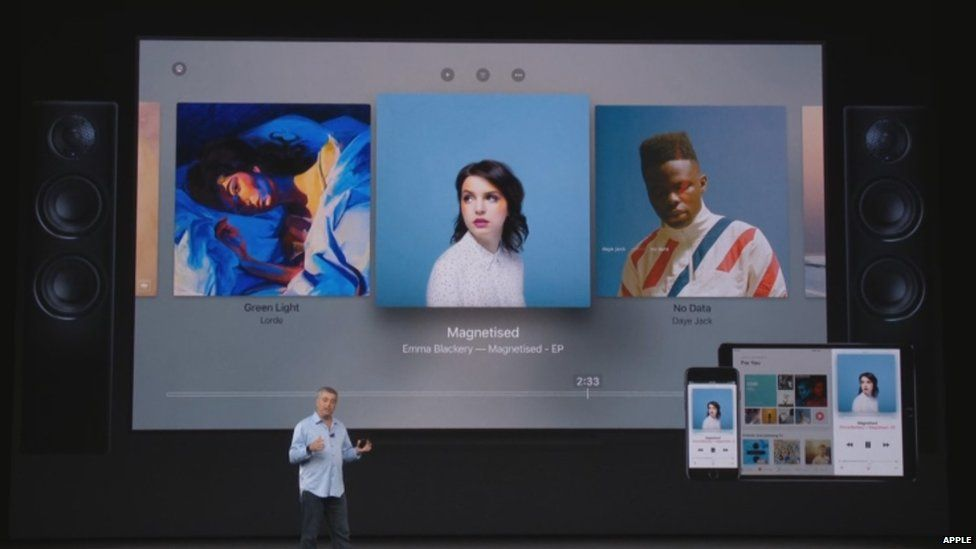 Emma Blackery's EP on screen at the Apple launch event.