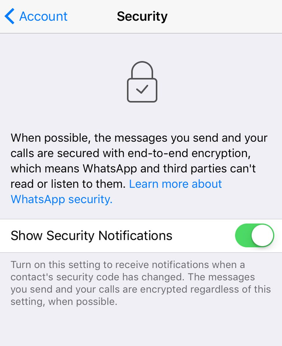 A screengrab showing WhatsApp's notifications switched on, as recommended by security experts.