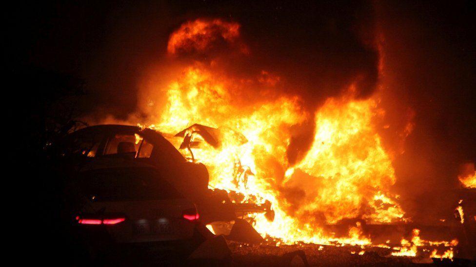 Car burning after a bomb in Ankara.