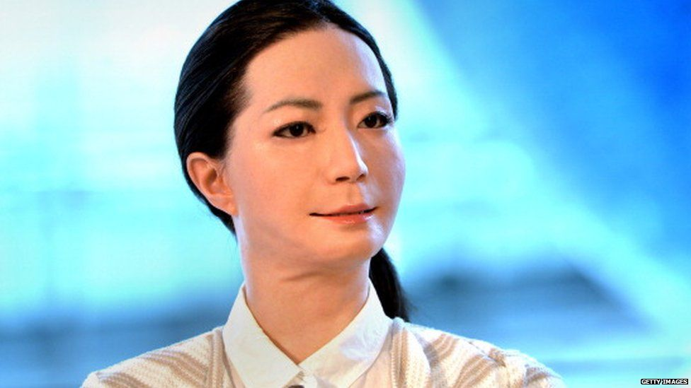 A humanoid robot. Japanese scientists unveiled what this news-reading android, supposedly possessing a sense of humour to match her perfect language skills, in 2014